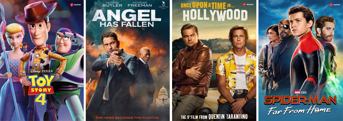 Filmleie-promo med Toy Story 4, Angel Has Fallen, Once Upon a Time in Hollywood og Spiderman Far From Home.